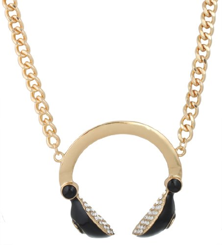 Gold With Black Iced Out Dj Headphones Pendant With An 18 Inch Cuban Necklace