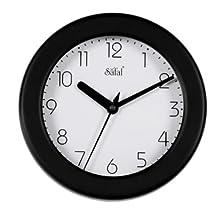 Safal Wooden Wall Clock (20.32 cm x 20.32 cm, Black, SQ 1073)