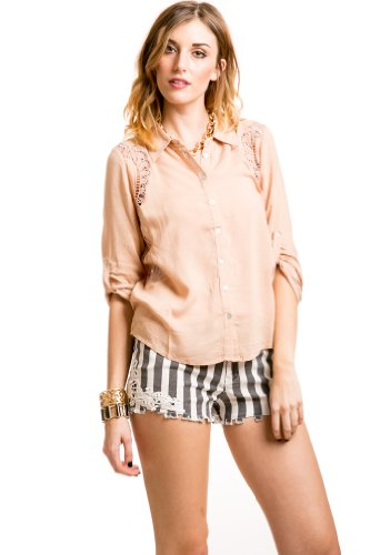Embroidered Sides Button Down in Blush