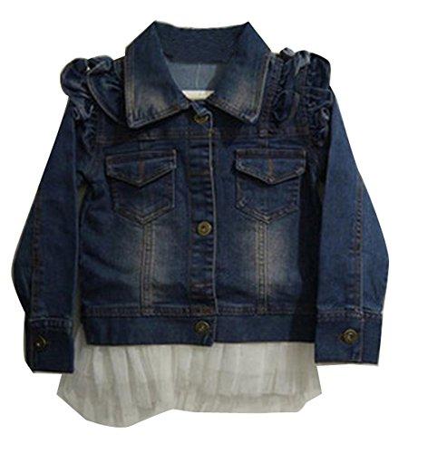 Gaorui Giacca Da Bambina Blu Jacekt Jeans Cardigan Capispalla Trench Fiori Con Lace Bianco