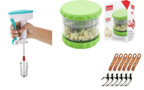 NESTWELL Power Free Blander WITH Garlic & Multi Crusher (ABS) WITH Tea Spoon (Legend) (6 Pcs. Set)