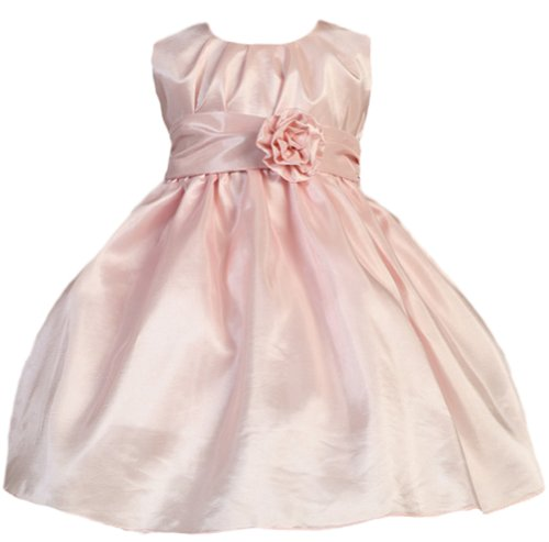 Baby-Girls Sweet Kids Pleated Taffeta Dress 12M Med Pink (Sk B355)