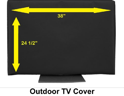 "38"" Outdoor Tv Cover Black (Soft Non Scratch Interior Fits 36"",37""-Some 40"",42"")"