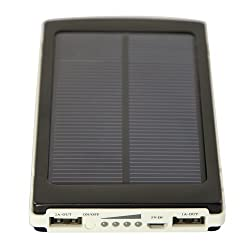 10000mAh Solar Panel Mobile 2 USB power Bank Charger for iPhone,iPad 4 3 Tab, Smart Phone,MP3,MP4 (Black)