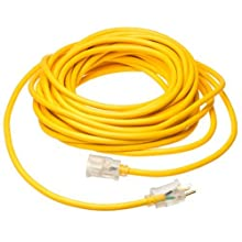 Coleman Cable 01488 14/3 Insulated Outdoor Extension Cord with Lighted End, 50-Feet