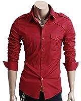 Doublju Mens Casual Two Pocket Detailed Shirts