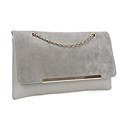 BMC Fashionably Chic Caramel Frappe Faux Suede Leather Gold Metal Chain Large Envelope Clutch Handbag