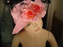 HT23,Pink Gimp floppy hat with two pink roses