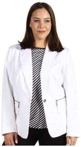 Michael Kors White Twill Wash Jacket 22W White