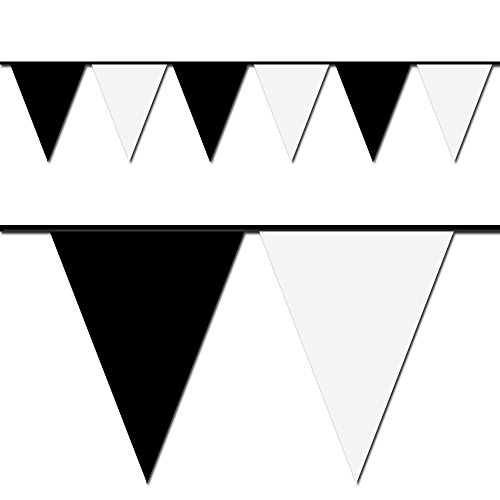 100' Black & White Pennant Flag (Heavy Duty Flag Streamers compare prices)
