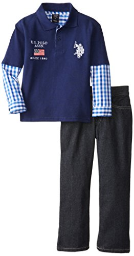 U.S. Polo Assn. Little Boys' Pique Polo With Woven Hang Down And Denim Jeans Set, Classic Navy, 5