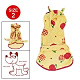 Doggy Yellow Red Grids Apple Size 2 Terry Bathrobe Sleepwear