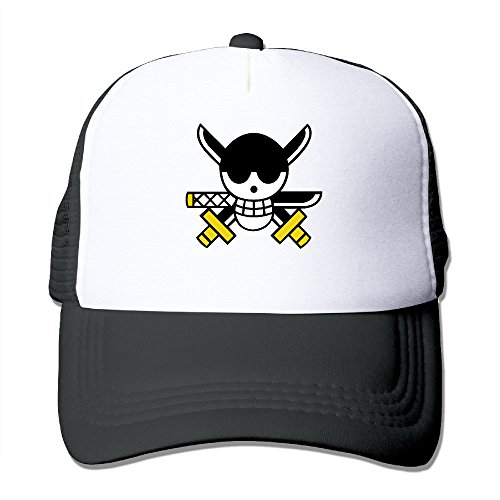 Adjustable Men Cartoon Terror Pirate Skull Peak Mesh Hats Black
