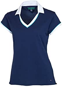 Tommy Hilfiger Women's Adele Polo Tee, Midnight, X-Small