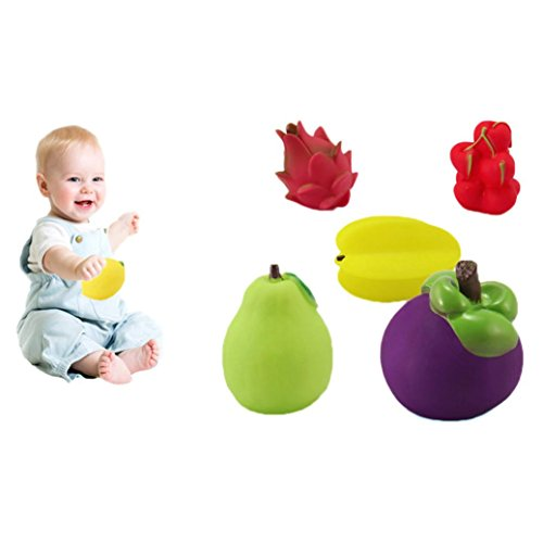 Baby Toys, Franterd 6Pcs Toddler Soft Rubber Float Sound Wash Bath Play Fruits Toys (Baby Food Sqeeze compare prices)