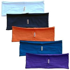 5-pack headband Chakra Collection (white, navy, orange, blue, purple) single layer unfinished edge stretchy yoga hBAND by Absolute Yogi