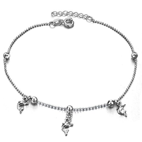 Opk Jewellery Fashion Adjustable Women's Anklet Bracelet 18K White Gold Plated Silver Dolphin Pendants Spacer Bead Foot Chain Stylish Personality Gift Never Fade And Nickle Free 10.24 Inch Length 3g Weight New Design
