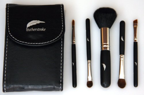 eyeshadow tutorial Makeup Brush Set - Compact - 5 Essential Touch-up Brushes with Mirror Pouch - Professional Designer