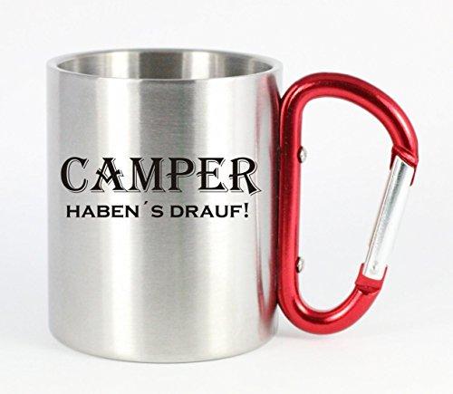 edelstahltasse mit carabiner camper haben s drauf blechtasse campingtasse kaffeetasse mit. Black Bedroom Furniture Sets. Home Design Ideas