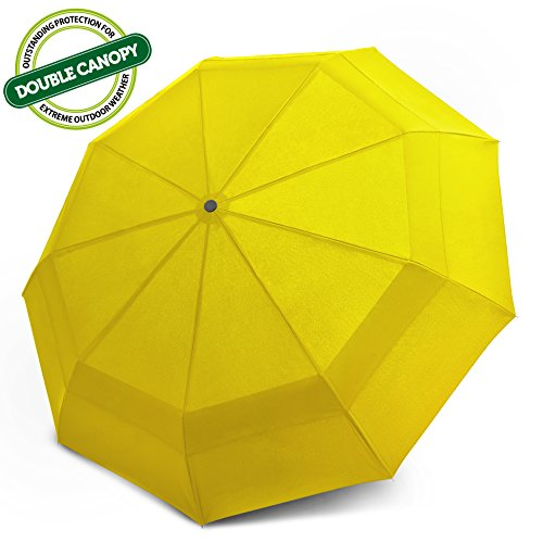 EEZ-Y Double Canopy Wind Resistant Travel Umbrella - Auto Open/ Close Button for One Handed Operation - Compact and Lightweight for Easy Carrying (Yellow)