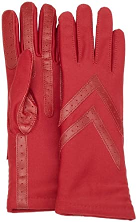 Isotoner Women's Knit Lined Glove with Leather Palm Strips, Red, One Size