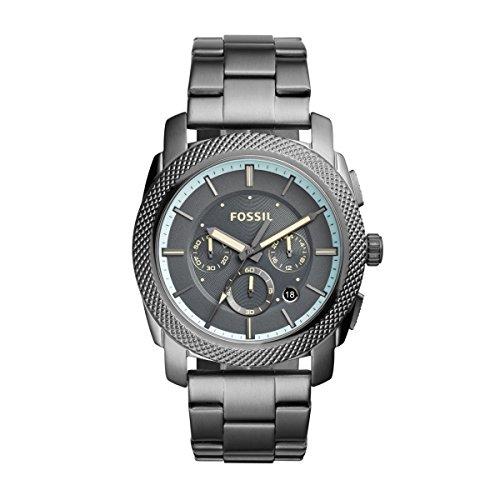 Fossil fs5172Machine Cronógrafo Reloj Reloj de hombre acero inoxidable 50m Analog Chrono Fecha Gris