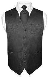 Men\'s Paisley Design Dress Vest & NeckTie BLACK Color Neck Tie Set sz 3XL