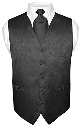 Men's Paisley Design Dress Vest NeckTie BLACK Neck Tie Set size XXL