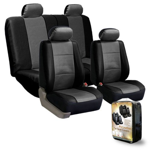Fh-Pu001114 Pu Leather Car Seat Covers Gray / Black Color