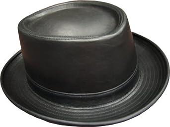 Small Black Leather Porkpie