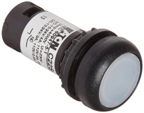 Eaton C22S-Drl-W-K10-120 Pushbutton Switch, Illuminated, Flush Mounted, Maintained Operation, White Led Color, Black Bezel Color, Spst-No Contacts, 120Vac Voltage front-626898