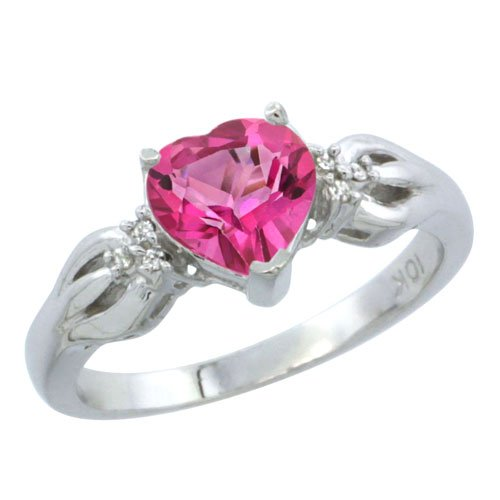 Revoni, 9ct White Gold, Pink Topaz and Diamond Ring, Heart Shape stone (7x7mm)