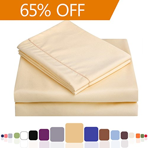 Balichun 4-Piece 1800-Thread-Count Hypoallergenic Microfiber King Fitted Bed Sheet Set with 18-Inch Deep Pocket, Gold (Flannel Split King Bed Sheets compare prices)