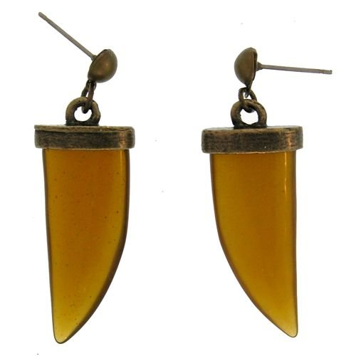 Acrylic Horn Earrings In Brown with Antique Brass Finish