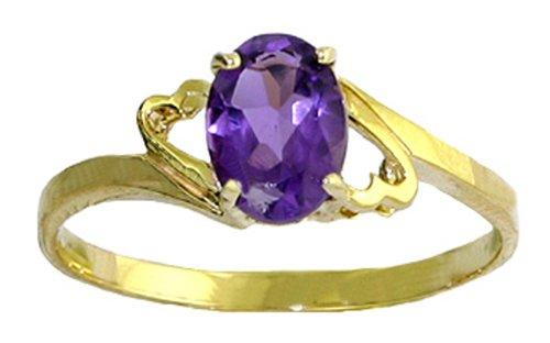 Genuine Oval Amethyst 14k Gold Promise Ring