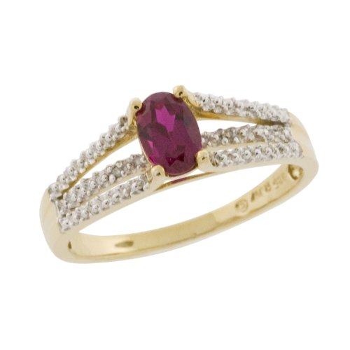 10k Yellow Gold Oval Cut LabCreated Ruby and Diamond Bridge Ring, Size 9