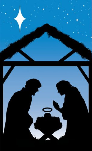 Manger Scene Window Poster