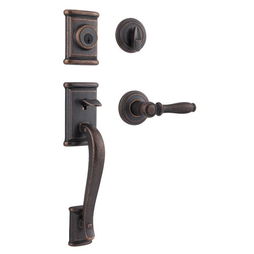 Kwikset 800ADH ADL 501 SMT CP Ashfield Single Cylinder Handleset with Ashfield Lever Featuring SmartKey, Rustic Bronze