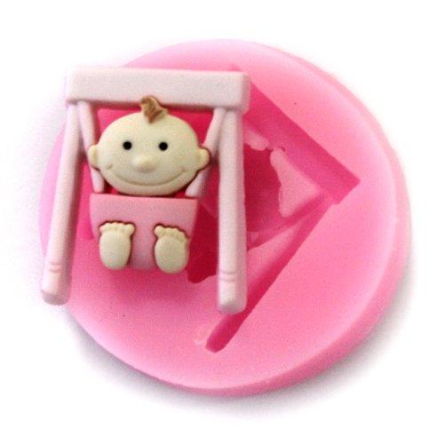 Longzang Mini Swing Baby F0528 Fondant Mold Silicone Sugar Mold Craft Molds Diy Gumpaste Flowers Cake Decorating