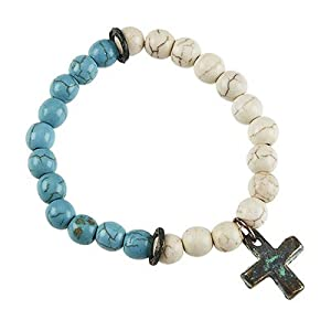 Religious Bracelet, Vintage Style, 2-tone Dyed Stone Stretch Bracelet with Patina Cross Charm. Features: * Patina Plating * 2-tone Dyed Stone Stretch Bracelet * Turquoise & Ivory Dyed Stones * Patina Disk Accents * Patina Charm - Cross * Stretch: 1 Size Fits Most. 2-tone Turquoise & Ivory Dyed Stone Stretch Bracelet with Patina Disk Accents & Patina Cross Charm.