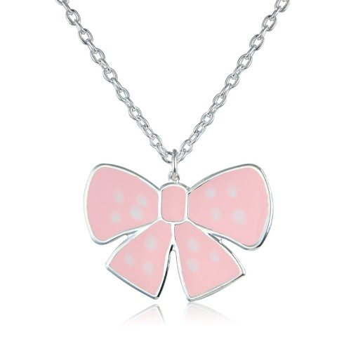 Pretty Pink Polka Dot Bow Necklace - matching earrings and matching ring available- arrives in a lovely gift bag