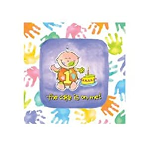 """""""One is Fun"""" 1st Birthday Party Handprints Printed Lunch Napkins, 3PLY, 16ct"""