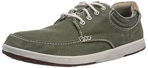 Clarks Norwin Vibe, Low-Top Sneaker uomo, Verde (Grün (Dark Green Canvas)), 42