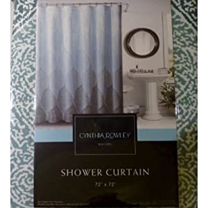 Amazon Com Cynthia Rowley Damask Leaf Print Fabric Shower Curtain In Shades Of Aqua Blue