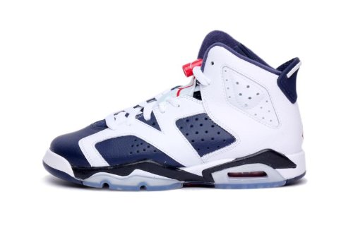 Youth Nike Air Jordan 6 Retro (GS) Olympic Edition White / Midnight Navy / Varsity Red 384665-130 Size 7