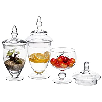 MyGift Clear Glass Apothecary Jars, Wedding Centerpiece, Candy Storage Bottles - 3 Piece