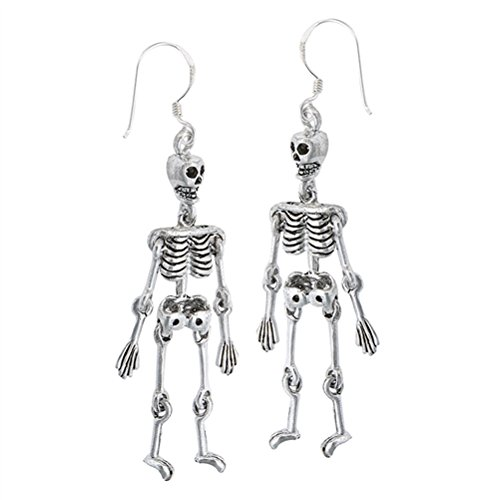 Moveable Solid Sterling Silver Skeleton Dangle Earrings