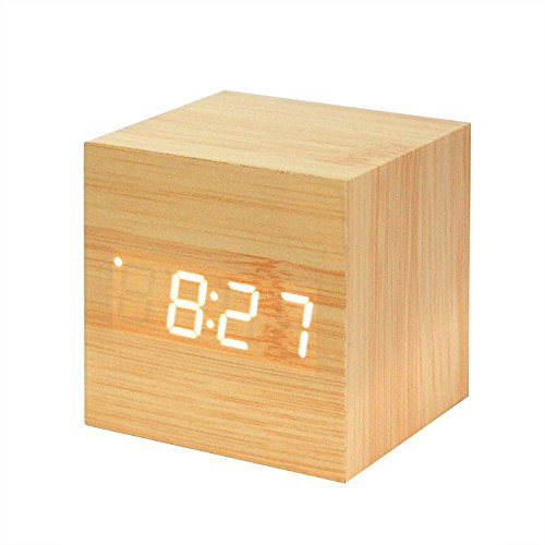 Powstro clock Modern Wooden Cube Design Digital LED Desk Alarm Clock Voice Control Thermometer Timer Calendar (Digital Desk Timer compare prices)