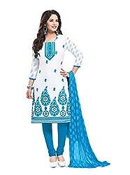 RK Fashion Womens Cotton Un-Stitched Salwar Suit Dupatta Material ( RAJGURU-PAHELI-9281-White-Free Size )