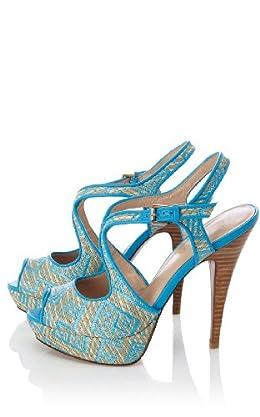 Colorful Raffia Platform Sandal